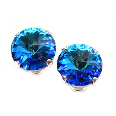pewterhooter 925 Sterling Silver stud earrings expertly made with sparkling Bermuda Blue crystal from SWAROVSKI® London box. TClvr4mh
