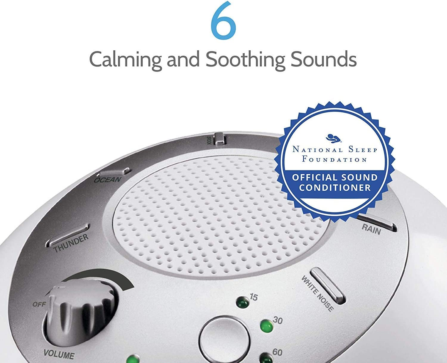 White Noise Sound Machine Portable Sleep Therapy for Home, Office, Baby Travel 6 Relaxing Soothing Nature Sounds, Battery or Adapter Charging Options, Auto-Off Timer HoMedics