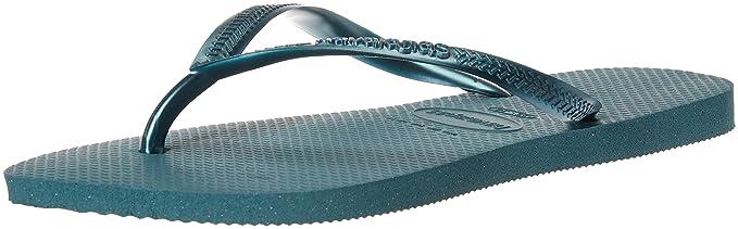 b5406f2fe91fd Havaianas Women's Slim Flip Flop Sandal, Mineral Blue, 39/40 BR (9-10 M US)