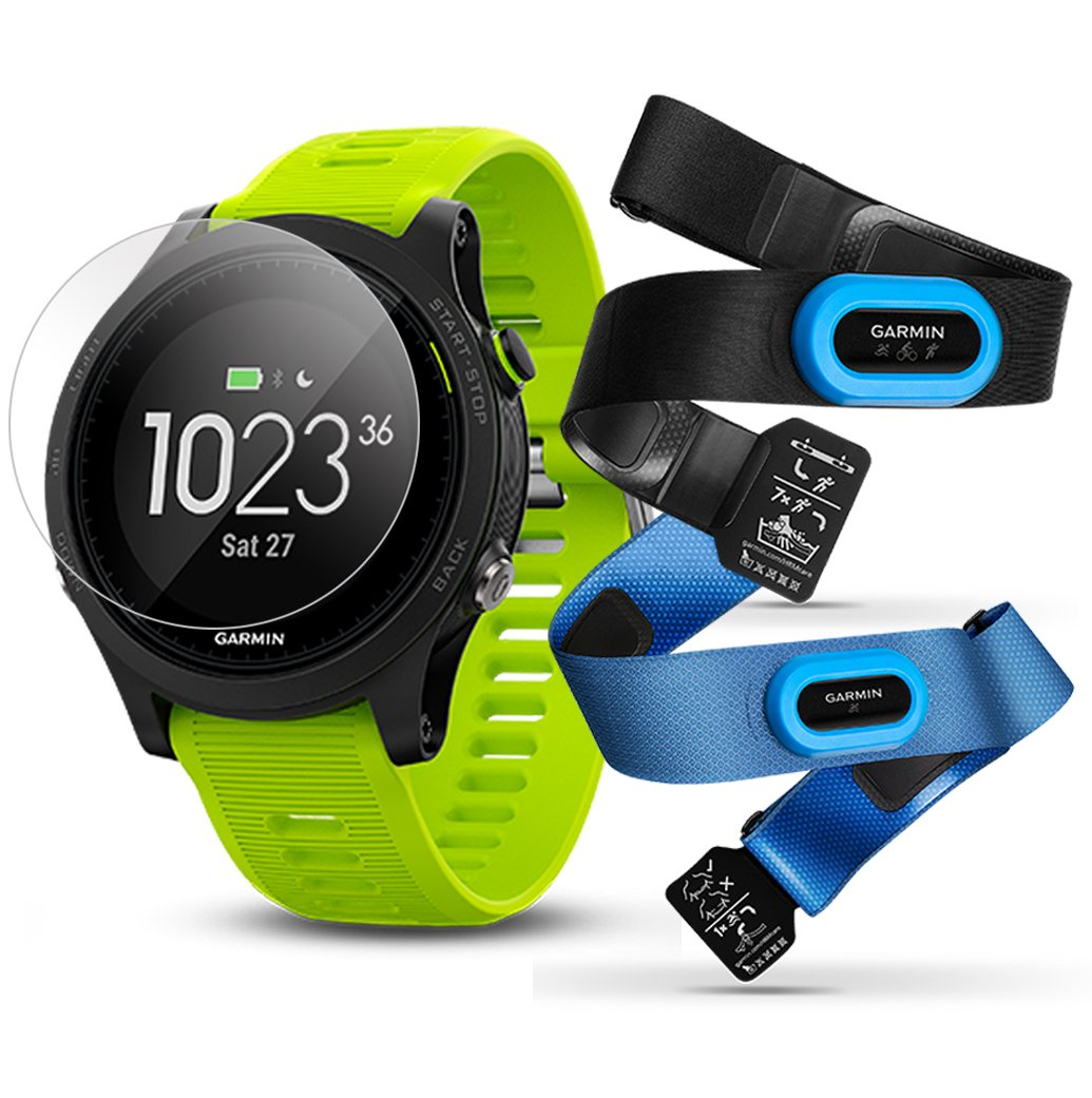 Garmin Forerunner 935 Tri-Bundle Power Bundle Includes HRM Tri Swim Chest Straps, HD Screen Protector Film x4 , Extra Silicone Band, PlayBetter USB Car Wall Adapters GPS Training Watch
