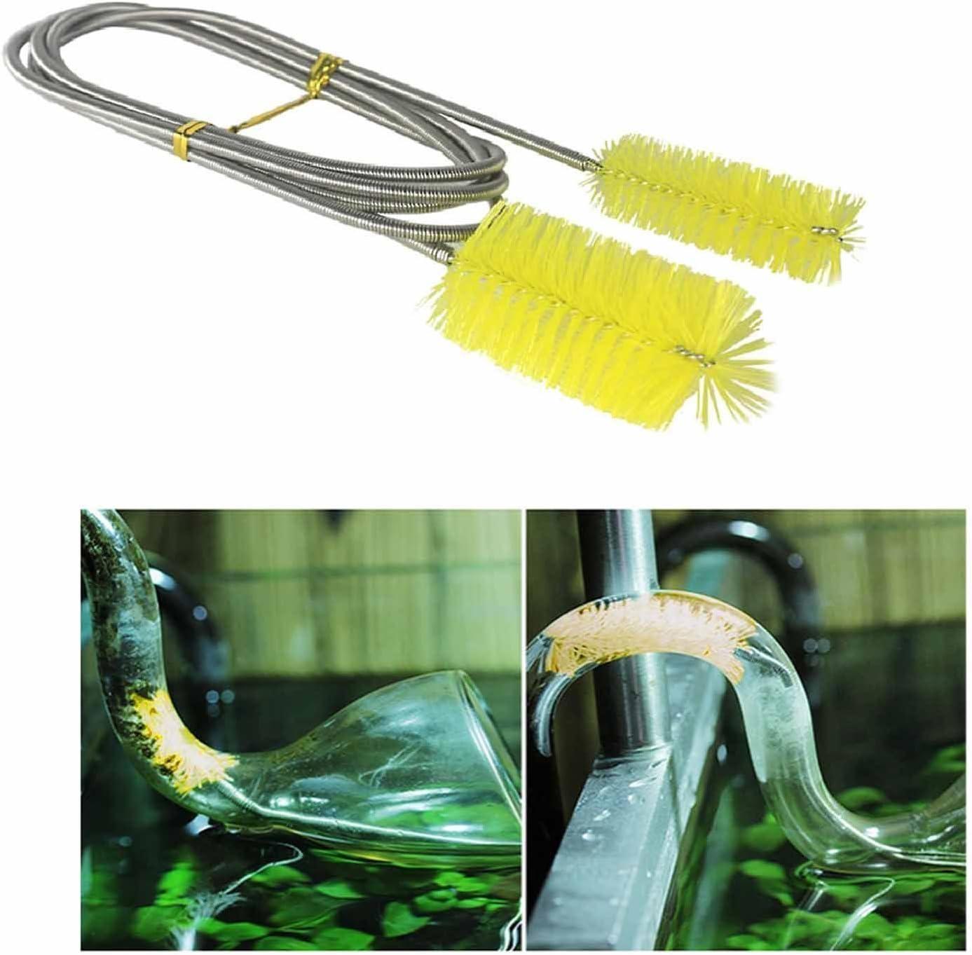 Doble Ended Filtro de agua bomba tubo cepillo de limpieza Limpiador de acuario