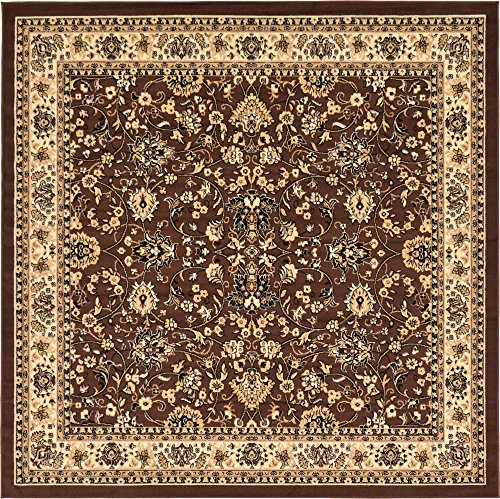 - Unique Loom Kashan Collection Traditional Floral Overall Pattern with Border Brown Square Rug (8' 0 x 8' 0)