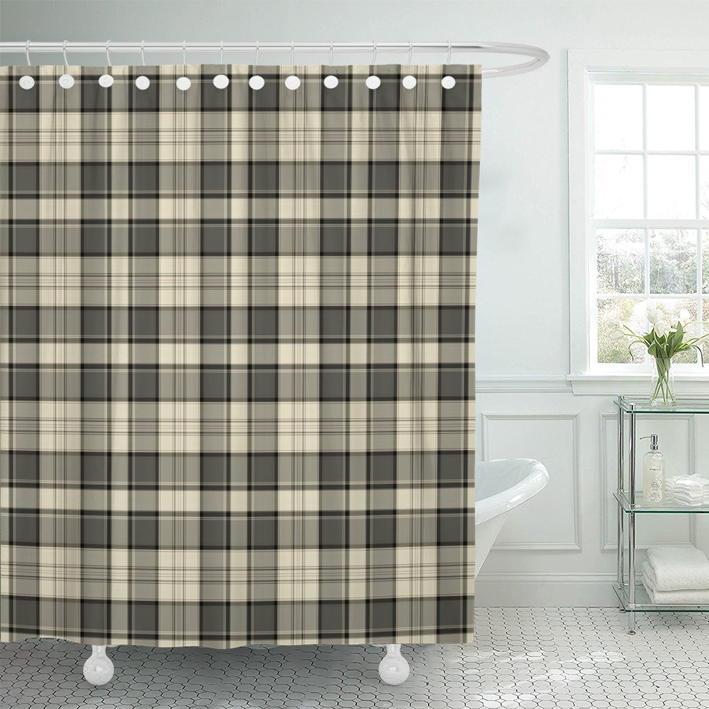 Emvency Shower Curtain Tan Flannel Plaid Pattern Brown Masculine Black Waterproof Polyester Fabric 72 x 72 Inches Set with Hooks