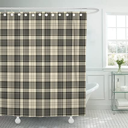 Emvency Shower Curtain Tan Flannel Plaid Pattern Brown Masculine Black Cream Country Waterproof Polyester Fabric 60