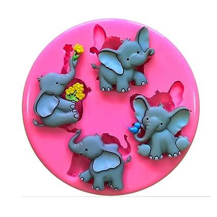 Cute elefante Elefun Nelly tronco Molde de silicona para la torta de Decoración Pastel de Cupcake