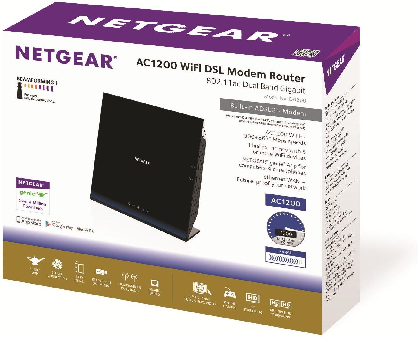 NETGEAR AC1200 WiFi DSL D6200 Non-Cable Modem Router 802.11ac Dual ...