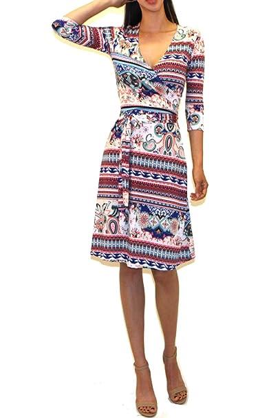 Women's Printed V-neck 3/4 Sleeve Faux Wrap Waist Tie Midi Dress