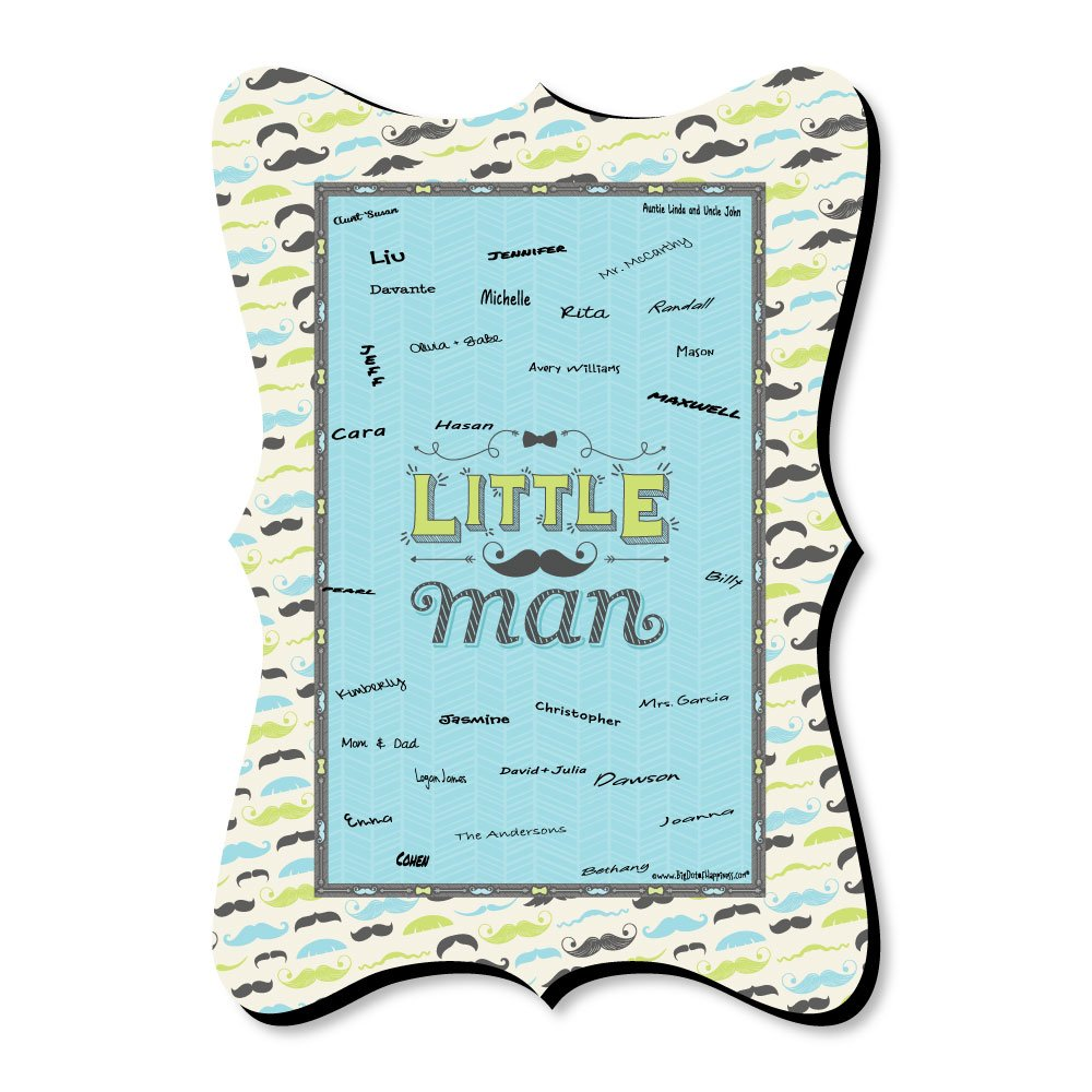 Dashing Little Man Mustache Party - Unique Alternative Guest Book - Baby Shower Or Birthday Party Signature Mat by Big Dot of Happiness