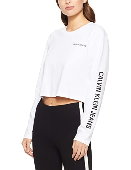 f2982885c1d7 Calvin Klein Jeans Sleeve Institutional Cropped W Longsleeve: Amazon.co.uk:  Clothing