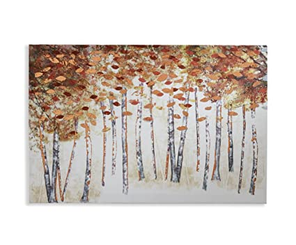 Amazon.com: Arthouse, Copper Birch Tree Abstract Painted Foil Canvas ...