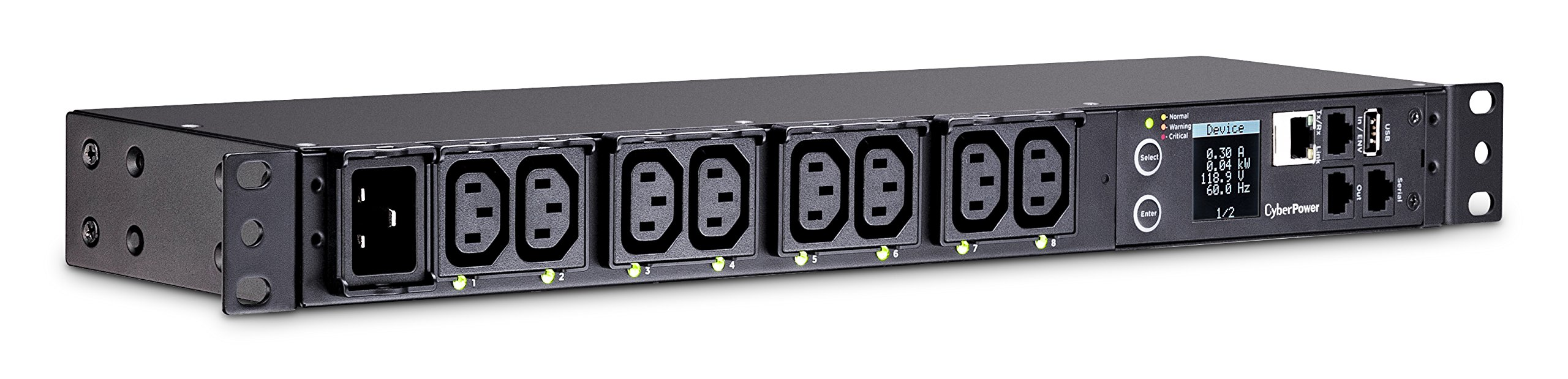 CyberPower PDU81005 Switched Metered-By-Outlet PDU, 100-240V/20A, 8 Outlets, 1U Rackmount