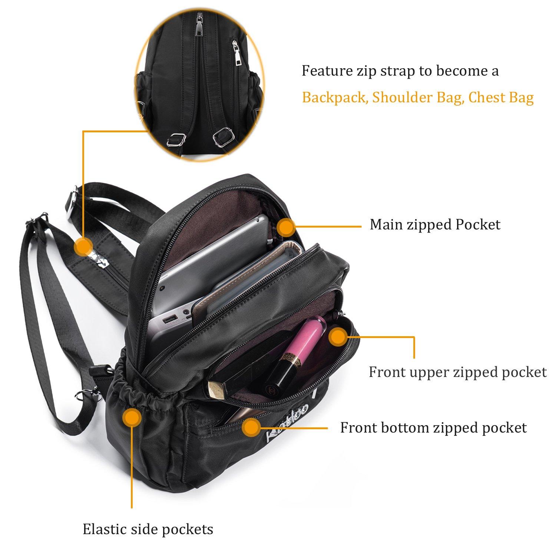 95a7232c71b1b Katloo Damen Rucksack Mini Backpack Klein Rücksack Nylon Tagespackung Wasserdicht  Cabrio Schulter Gurt Brusttasche Schlinge Taschen Lässige Reise Geldbörse