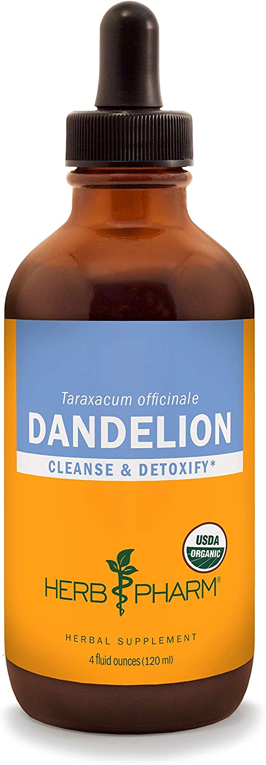 Herb Pharm Certified Organic Dandelion Liquid Extract for Cleansing and Detoxification – 4 Fl Oz