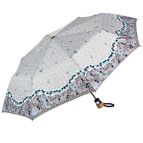 Gaudi-Barcelona Paraguas Plegable, Color Azul y Morado