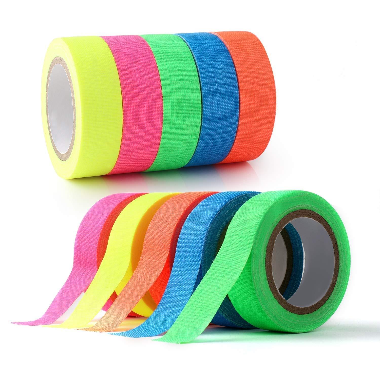 10-pack UV Blacklight Reactive Glow in the Dark tape, fluorescente/neon Gaffer tape (0.5in x 16.5ft) GC