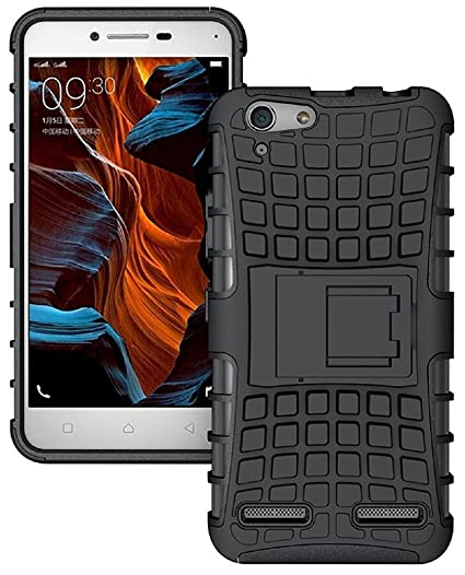 quality design 354a4 db6df FABZONE Back Cover for Gionee Pioneer P5L Back Cover Hybrid Kick Stand Case  - Black