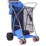 Goplus Folding Wonder Wheeler Beach Cart Wide Wheel w/ Removable Utility Bag, All-Terrain Rear Wheels