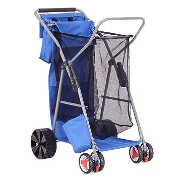New Deluxe plegable playa Wonder bolsa carrito plegable almacenamiento transporte ruedas carrito: Amazon.es: Oficina y papelería