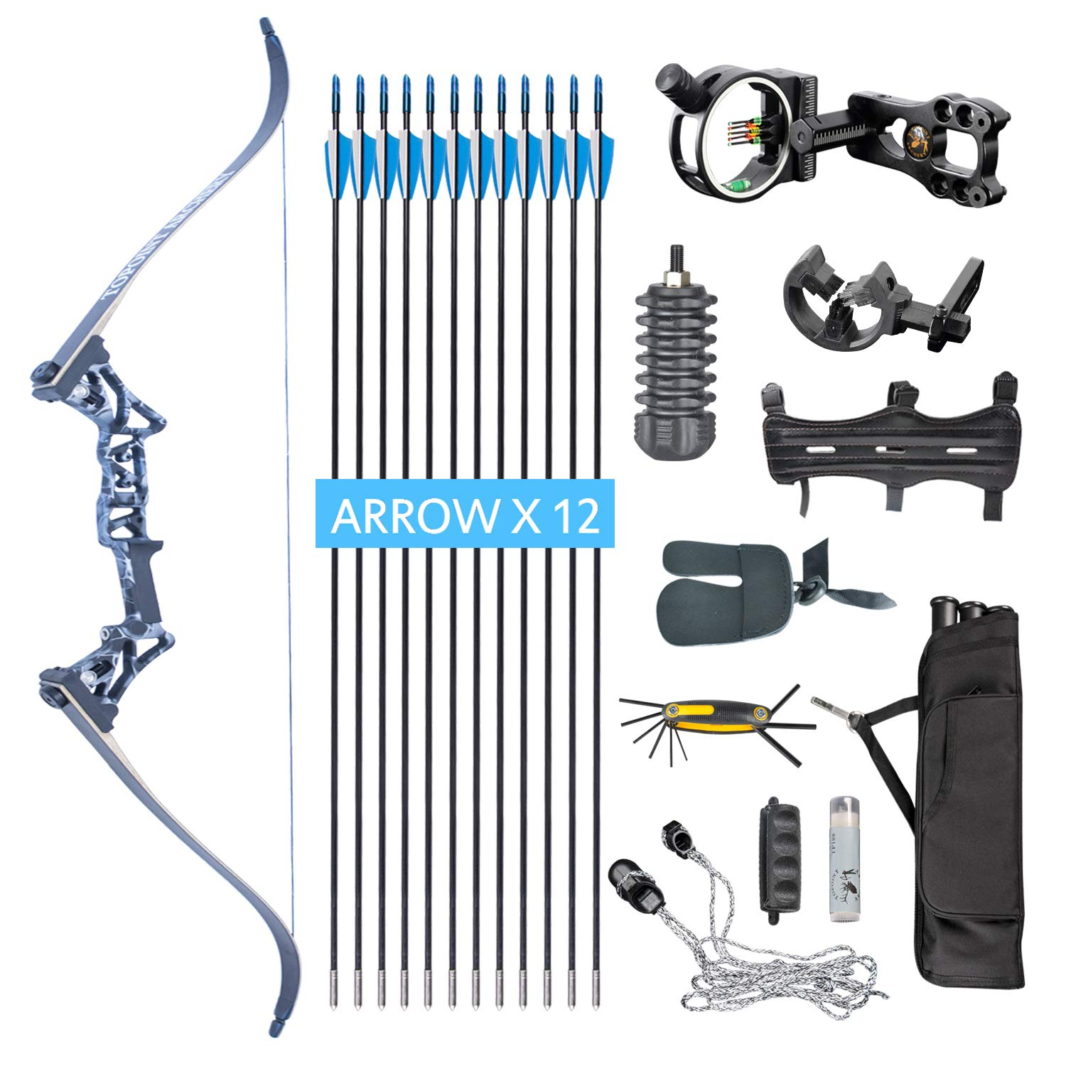 XQMART XGeek Archery Takedown Recurve Bow Package R3 Ready To Shoot Archery Set For Bow (camouflage, Draw Length-40) (black2, Draw Weight :40) (Camouflage, Draw Weight:40)