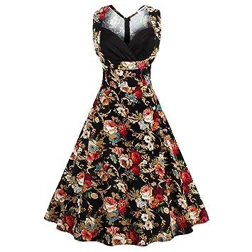 EALSN Frauen Vintage 50er Jahre Rockabilly Audery Swing Kleid ...