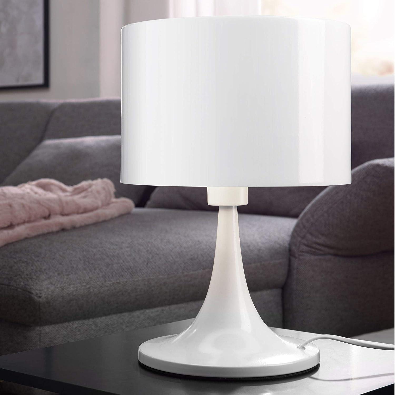 Design Tischleuchte TIL Metallschirm-Lampe Nachttischlampe Hochglanz Tischlampe weiß Ø 25cm Metalllampe E27 bis 60W Leselampe 1-flammig IP20 HxBxT:37x25x25cm Schwarz