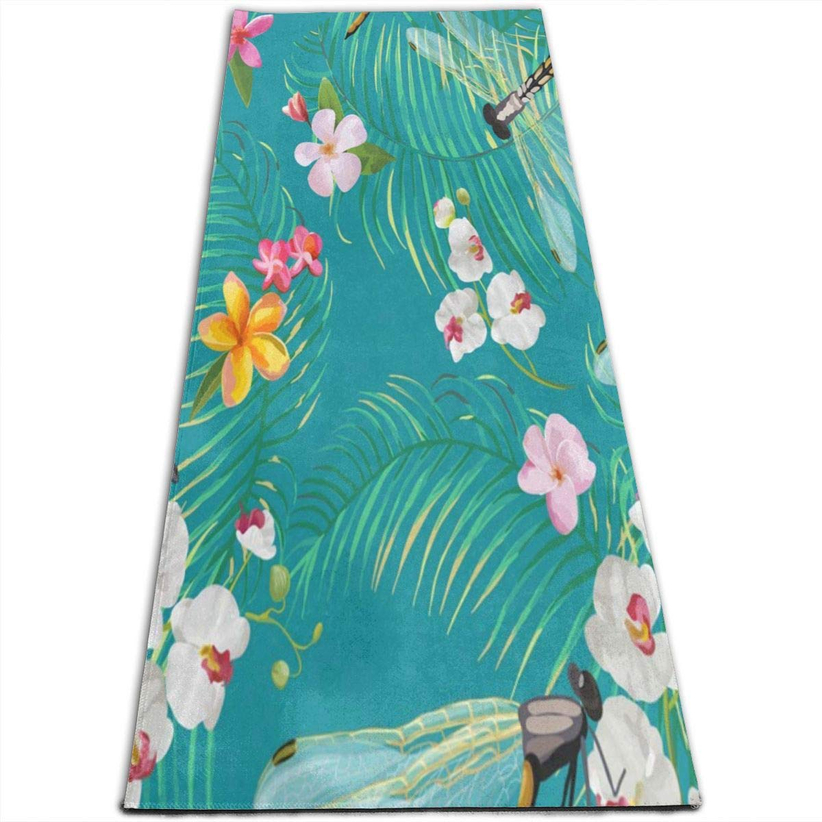 Amazon.com : Tropical Floral Dragonfly Yoga Mat-All-Purpose ...