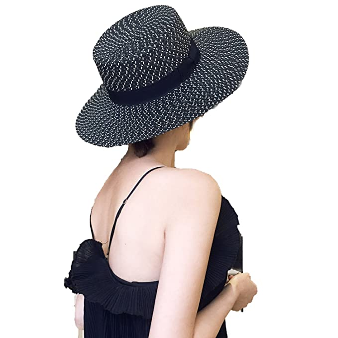 Sllxgli Black and White Flat-top Straw Hat Female Beach Hat Sunscreen Hat  at Amazon Women s Clothing store  546fc710bc7