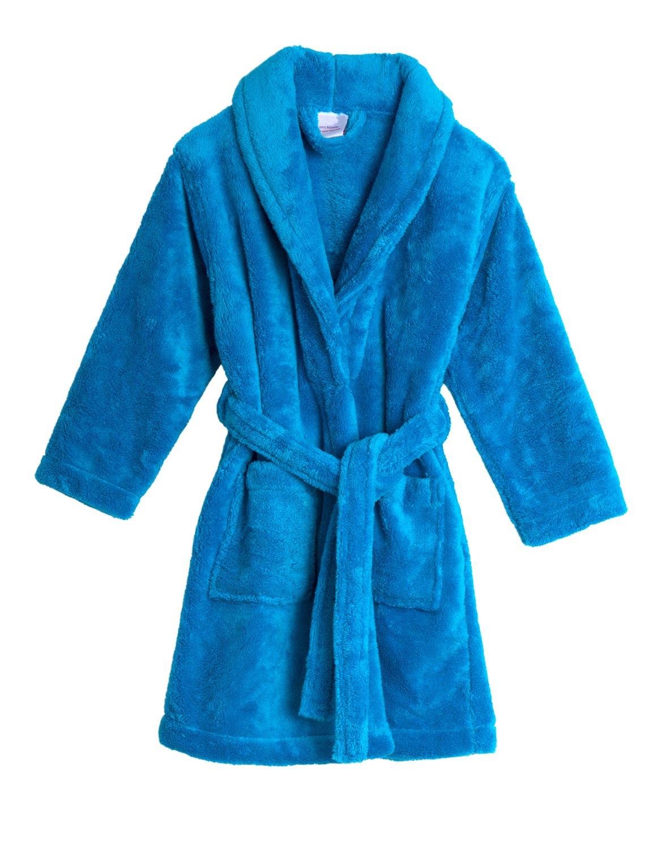 TowelSelections Big Girls' Robe, Kids Plush Shawl Fleece Bathrobe Size 14 Cyan Blue