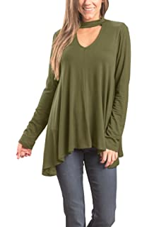 Floral Find Women s Tunic Tops Choker Long Sleeve V Neck Casual Loose  Pullover Blouse 596686438