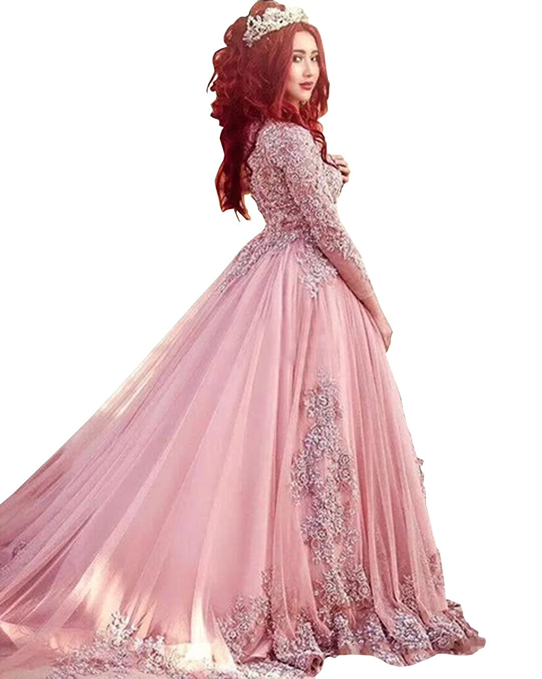 Wdress 2018 Ball Gown Long Sleeves Evening Dresses Princess Muslim Prom  Dresses at Amazon Women s Clothing store
