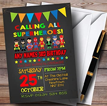 Image Unavailable Not Available For Color Chalk Bunting Superhero Childrens Birthday Party Invitations