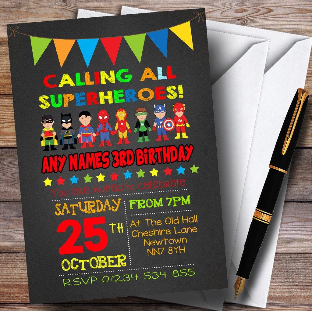 Chalk Bunting Superhero Childrens Birthday Party Invitations