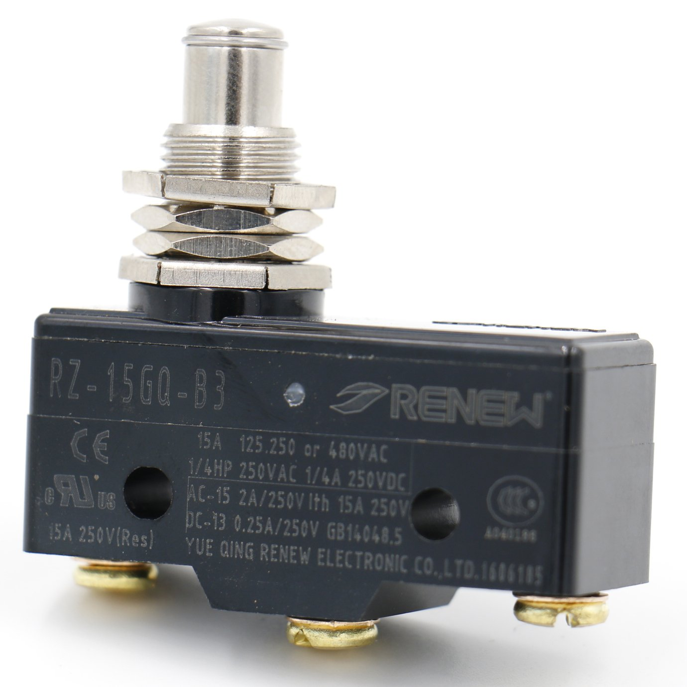 Heschen general purpose micro switch Z-15GQ-B, panel mount plunger, medium OP, 3 screw Terminal, 15A Rated Current UL listed RENEW Electronic Co.Ltd