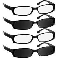 4848dfeb06fb Reading Glasses for Women and Men - Best Designer 4 Pack of Readers Spring  Hinge