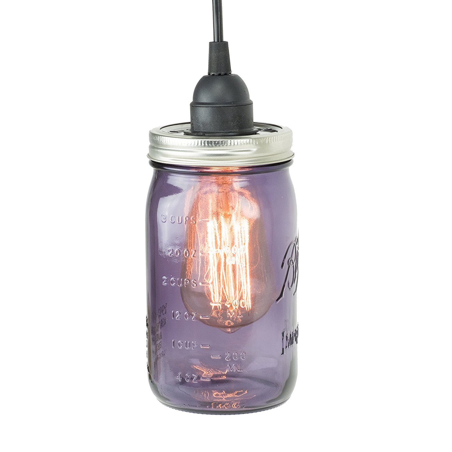 Purple Mason Jar Pendant Drop Light With
