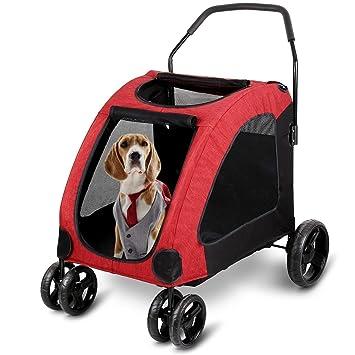 Carrito De Perro Grande para Mascotas con Ventana Superior Adecuado para 15-45 Kg - Trolley De Perro con Ruedas Y Bolso Organizador A Juego,Red: Amazon.es: ...