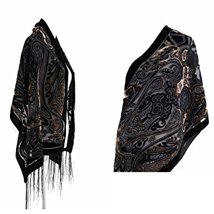 2f32e5638 Image Unavailable. Image not available for. Color: Handmade Gorgeous Black  & Camel Color Floral Silk Velvet Scarf Shawl Wrap