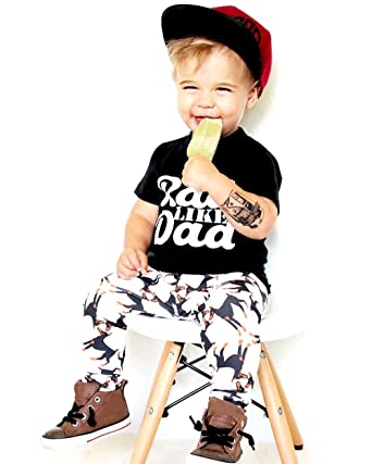 7b0f9e127621c3 Huhua Baby Outfits, Toddler Infant Newborn Kids Boy Letter Print T-Shirt  Tops + Animal Print Trousers Pants Clothes Set For 0-6 Years Old: Amazon.co. uk: ...