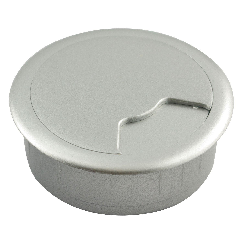 SECOTEC Kabeldurchgang 60 mm Kabeldurchlass f/ür Schreibtisch silber 1 St/ück