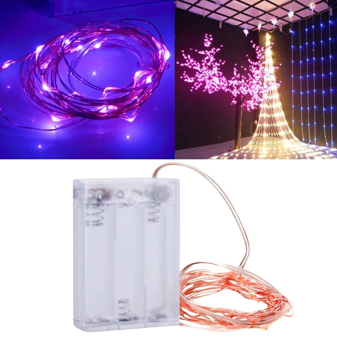 Perfect Home 2m 3 x AA Battery Powered 100LM SMD-0603 LED Copper String Light/Decorative Light Strip, Pink Light, Size: 200x0.5x0.3cm Durable (SKU : LED1121P) by Perfect Home (Image #1)
