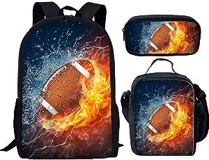 Children Girls Boys Unisex School Book Fire 3D Rugby Design Big Capacity School Bag Knapsack Lightweight Packs