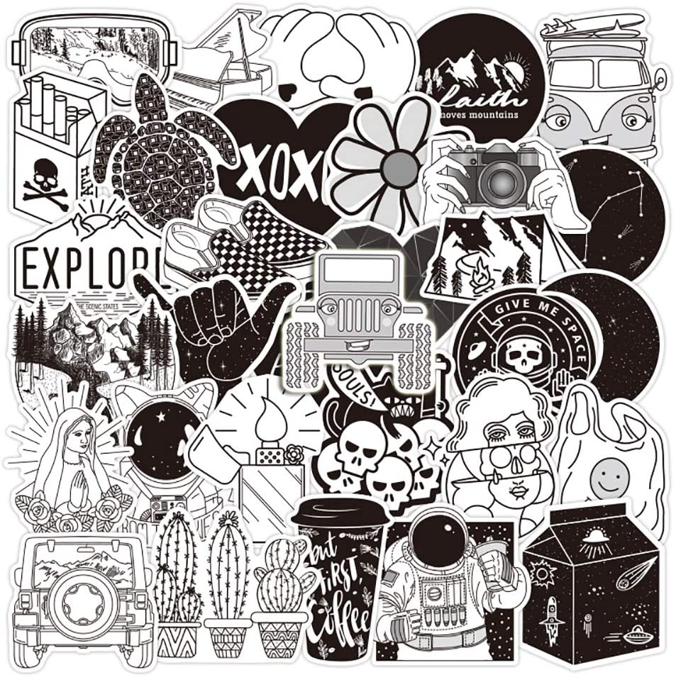Black and White Stickers[50pcs] Stickers Black and White for Laptop Hydro Flask Water Bottle Car Cup Computer Guitar Skateboard Luggage Bike Bumper, Kid Gift (Black and white-50Pcs)