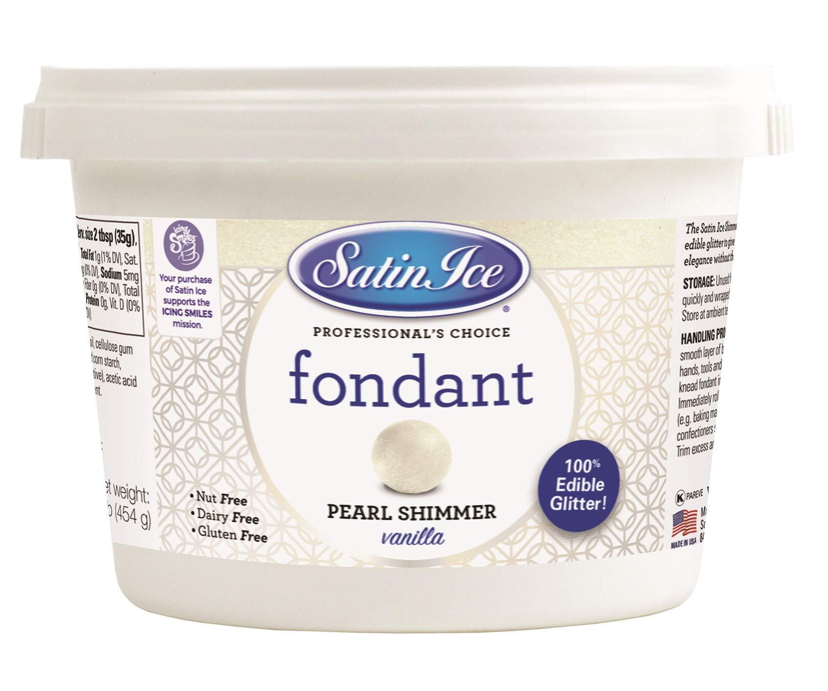 Satin Ice Pearl Shimmer Fondant, Vanilla, 1 Pounds