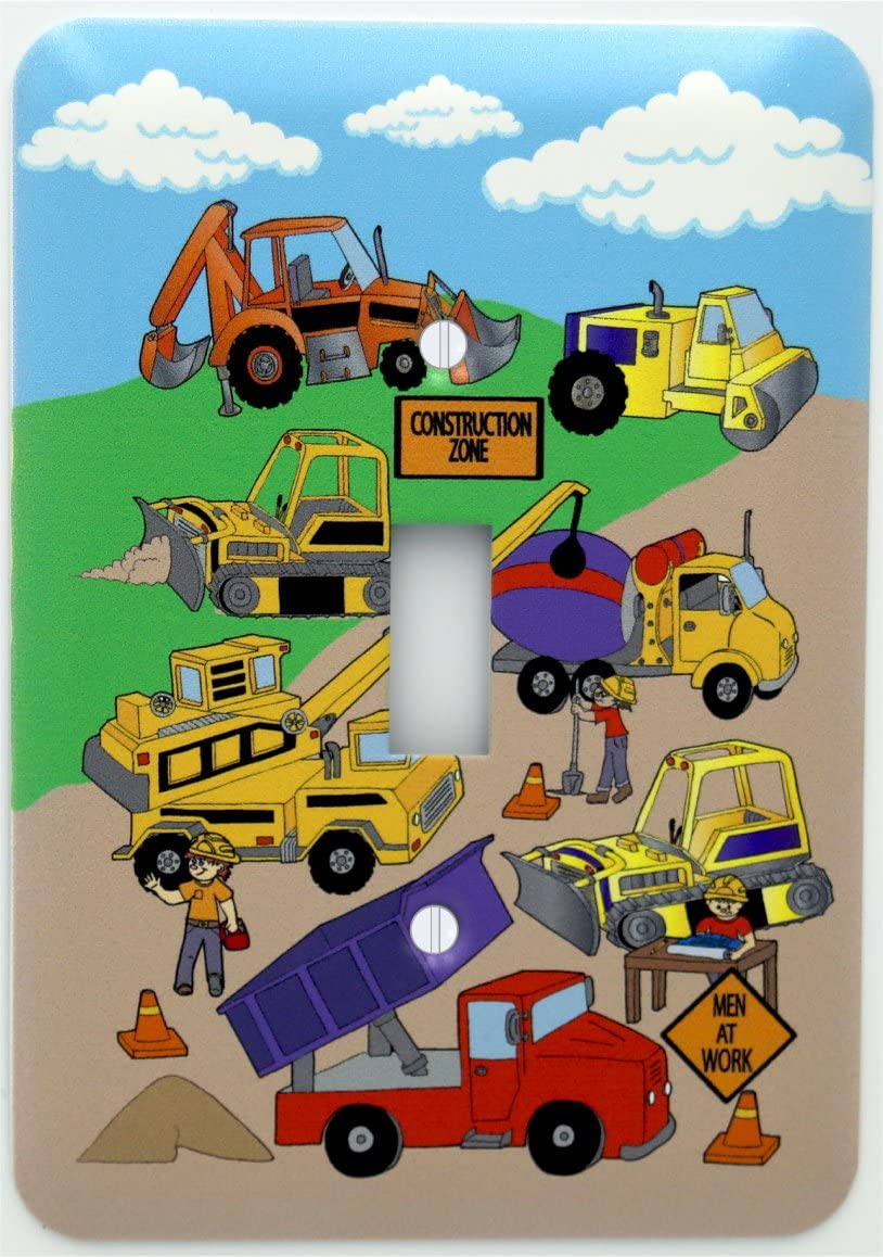 Presto Chango Decor Construction Light Switch Plates Covers Single Toggle Construction Theme With Bulldozers Tractors Cement Truck Steamroller Crane And Dump Truck Switch Plate Home Kitchen