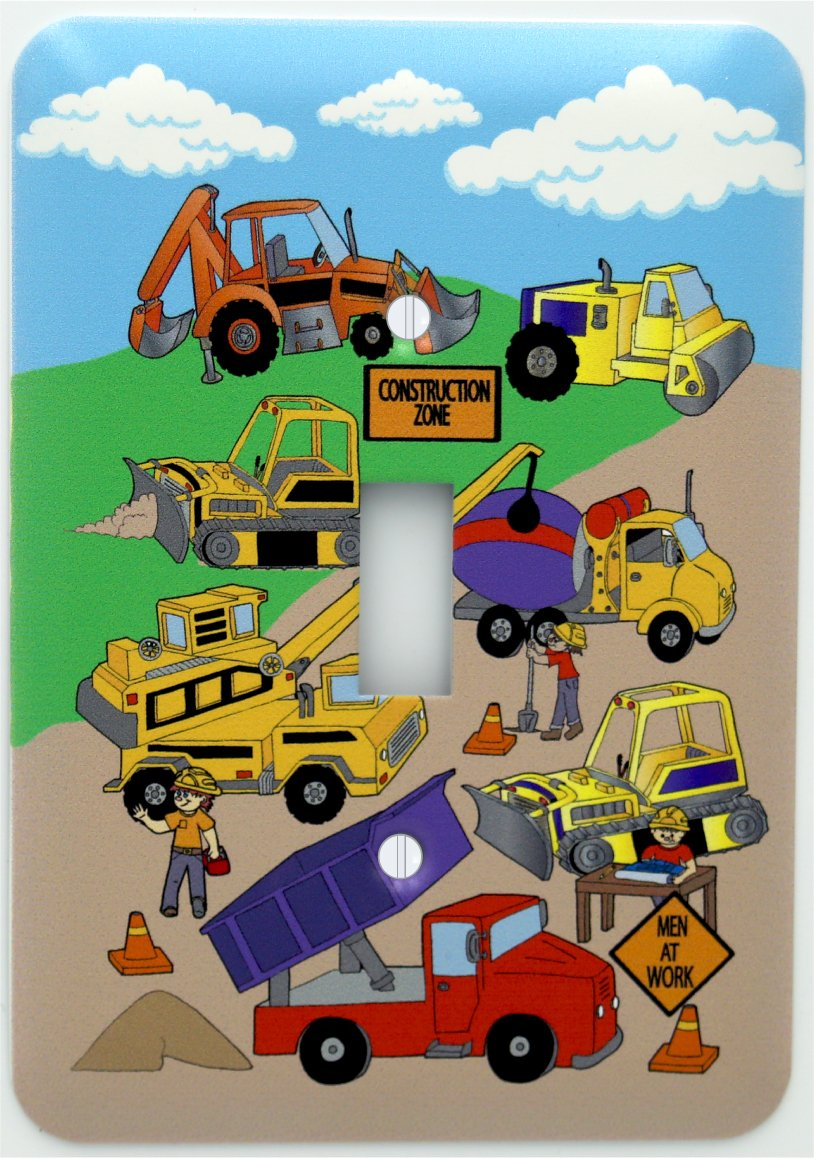 Presto Chango Decor Construction Light Switch Plates Covers/Single Toggle/Construction Theme with Bulldozers, Tractors, Cement Truck, Steamroller, Crane, and Dump Truck Switch Plate