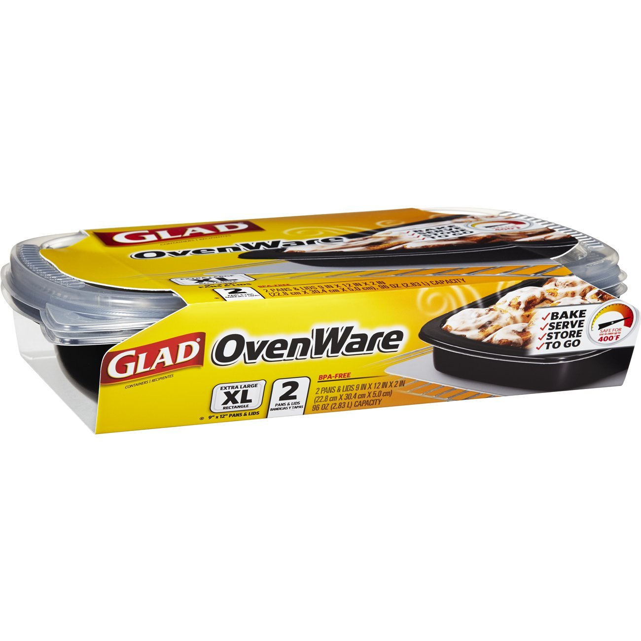 Glad Food Storage Containers - Glad OvenWare Containers - 96 Ounce - 2 Containers - 6 Pack