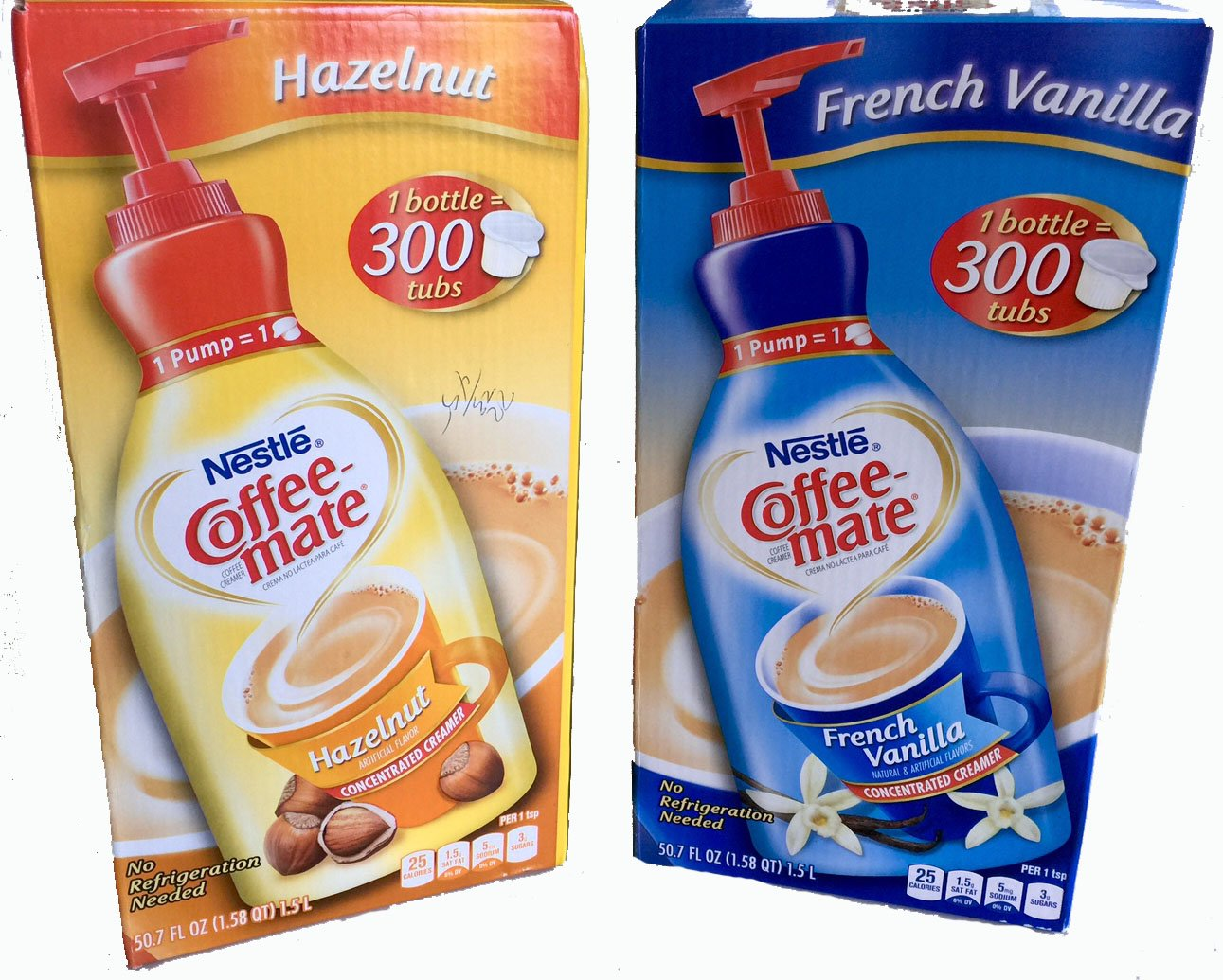 Coffee Mate Liquid Concentrate 1.5 Liter Pump Bottle - Variety 2 Pack (Hazelnut & French Vanilla) by Nestle Coffee Mate