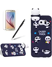 for Samsung Galaxy S6 Edge Case,Girlyard Girly Lucky 3D Cute [Papa Animal Pattern] Soft Silicone Practical Shockproof Slim Protective Back Case Cover for Samsung Galaxy S6 Edge-Black Panda