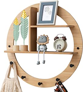 ALA7 Bamboo Decorative Wall Mounted Floating Shelf, Creative Display Home Decor Hanger with 5 Hooks, Rustic Wall Storage Shelves for Kitchen Bathroom Office- Round