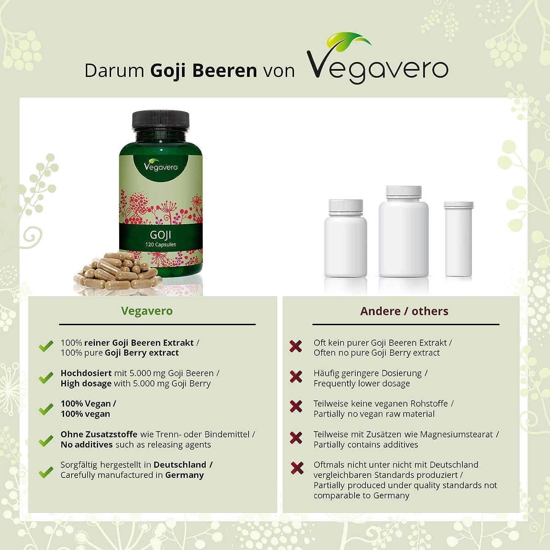 Extracto de Bayas de Goji Vegavero® | Acelera Metabolismo + Ayuda Adelgazar | Protege y Mejora la Vista | Luteína + Zeaxantina | 120 Cápsulas 500mg | ...